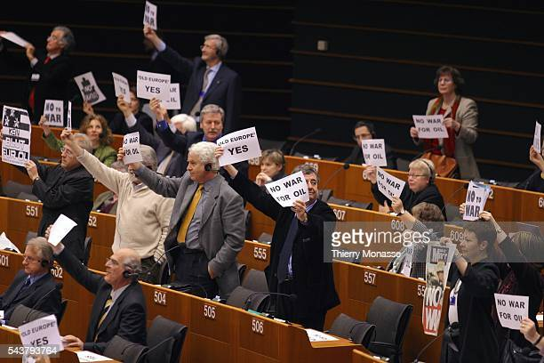 European ministers demonstrate against the impending war against Iraq during a session of the European Parliament
