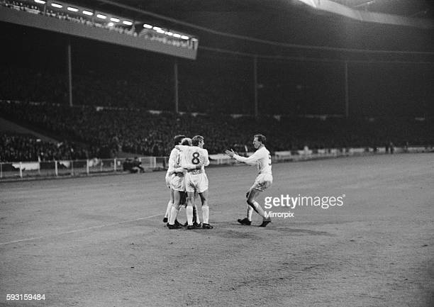 European Nations Cup Quarter Final First Leg match England 1 v Spain 0 England's Bobby Charlton congratulated by teammates and his brother Jack after...