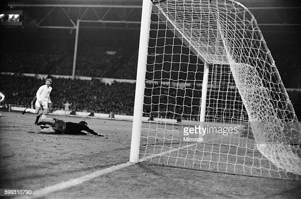 European Nations Cup Quarter Final First Leg match England 1 v Spain 0 Spanish goalkeeper Sadurni dives desparately to try and reach Bobby Charlton's...