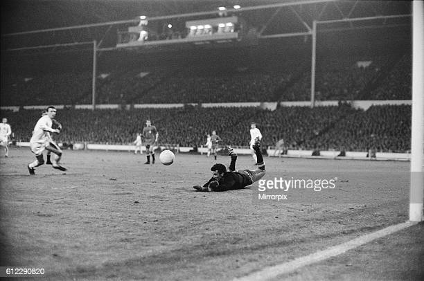 European Nations Cup Quarter Final First Leg match England 1 v Spain 0 Spanish goalkeeper Sadurni dives desparately across his goal to try and stop a...