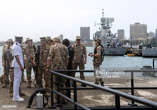 European naval officers arrive to attend yearly multinational maritime military exercises involving the United States Naval Forces Africa in...