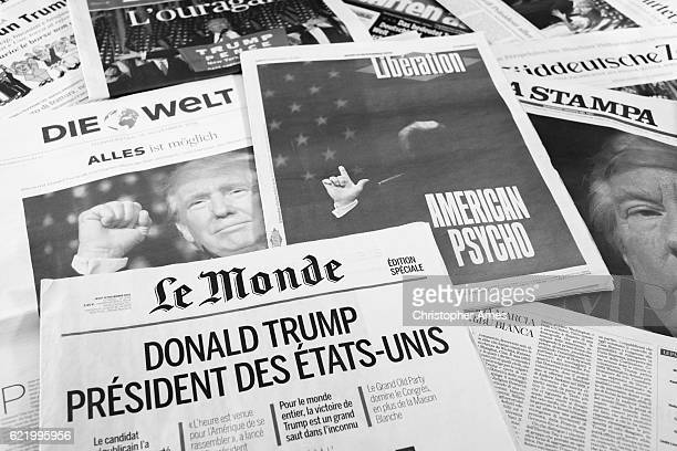 european newspapers react to donald trump election - the republicans french political party stock pictures, royalty-free photos & images