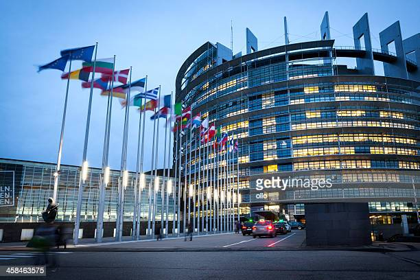 european parliament at dusk, strasbourg, france - european parliament stock pictures, royalty-free photos & images