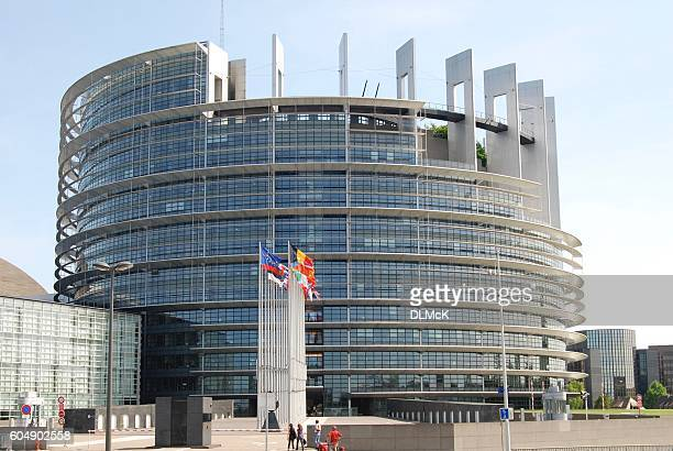 European Parliament building in Strasbourg, Alsace, France.