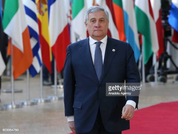 European Parliament Chief Antonio Tajani attends the EU members' informal meeting of the 27 heads of state or government at European Council...