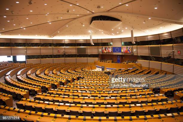 european parliament hemicycle - european union stock pictures, royalty-free photos & images