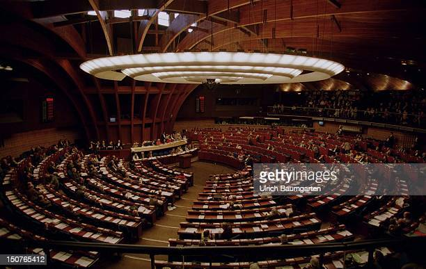 European Parliament in Strasbourg Indoor view of the partly filled plenary chamber
