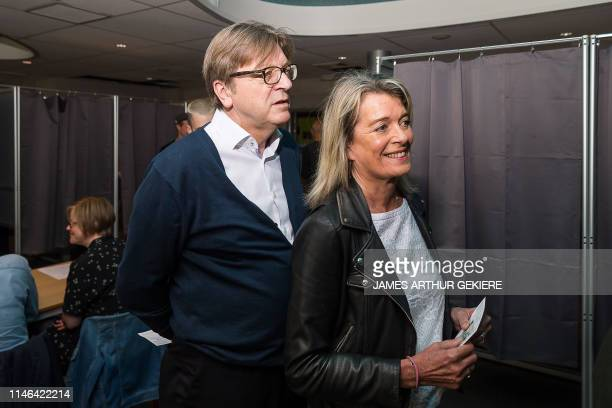 European parliament member for Open Vld Guy Verhofstadt and his wife Dominique Verkinderen pictured at a polling station in Mariakerke Gent Sunday 26...
