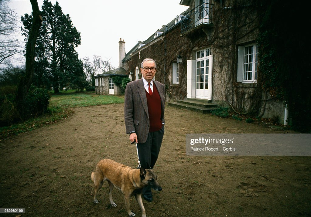 European Parliament member Michel Debre stands with his dog outside his home in Montlouis-sur-Loire, France. Debre served on the staff of Charles de Gaulle during the mid 1940s, and was the French Prime Minister up until 1962.