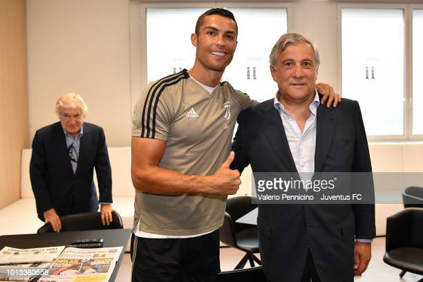European Parliament President Antonio Tajani and Cristiano Ronaldo of Juventus pose during the Visits Juventus Headquarters JTC Continassa on August...