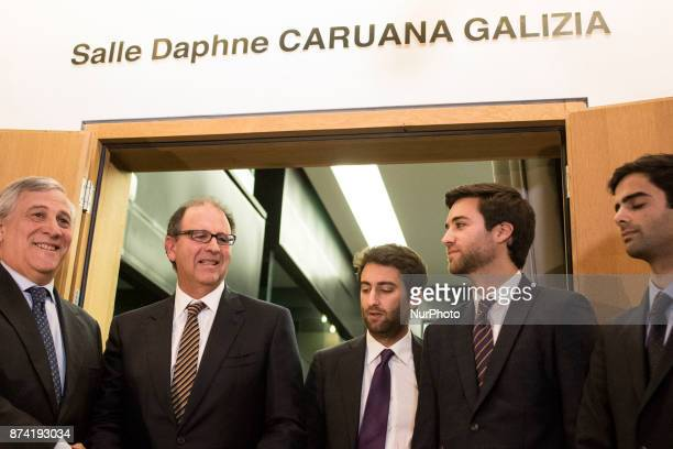 European Parliament President Antonio Tajani and family members of Ms Caruana Galizia during Naming ceremony of press conference room in honour of...