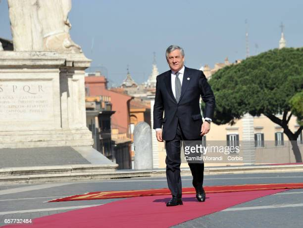 European Parliament President Antonio Tajani arrives at the Capitole Hill ahead of a special summit of EU leaders to mark the 60th anniversary of the...