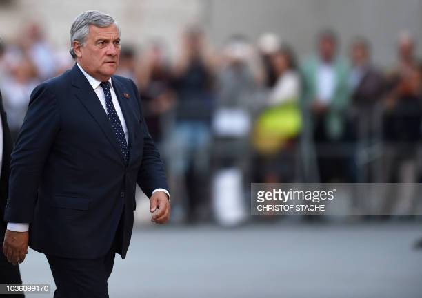 European Parliament President Antonio Tajani arrives at the Felsenreitschule prior to an informal dinner as part of the EU Informal Summit of Heads...