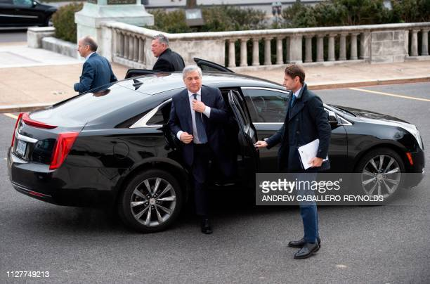 European Parliament President Antonio Tajani arrives for a meeting with Organization of American States Secretary General Luis Almagro at the OAS...