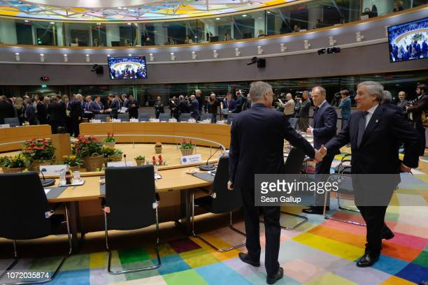 European Parliament President Antonio Tajani arrives for a special session of the European Council over Brexit on November 25 2018 in Brussels...