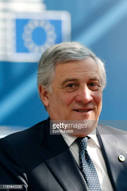 European Parliament President Antonio Tajani arrives on March 21 2019 in Brussels on the first day of an EU summit focused on Brexit European Union...