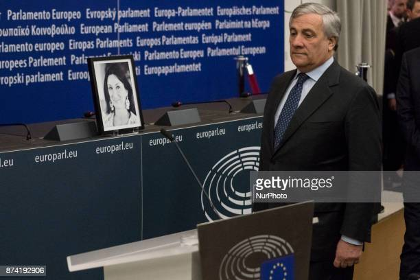European Parliament President Antonio Tajani attends Naming ceremony of press conference room in honour of Daphné CARUANA GALIZIA on 14 november 2017...