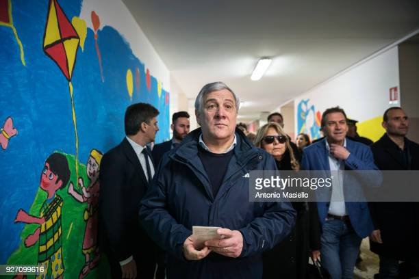 European Parliament President Antonio Tajani candidate for the centerright Forza Italia political party goes to vote at a polling station on on March...