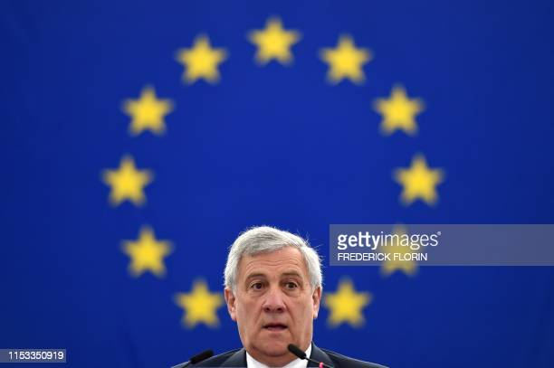 European Parliament President Antonio Tajani delivers a speech during a voting session to elect the new president of the European Parliament during...