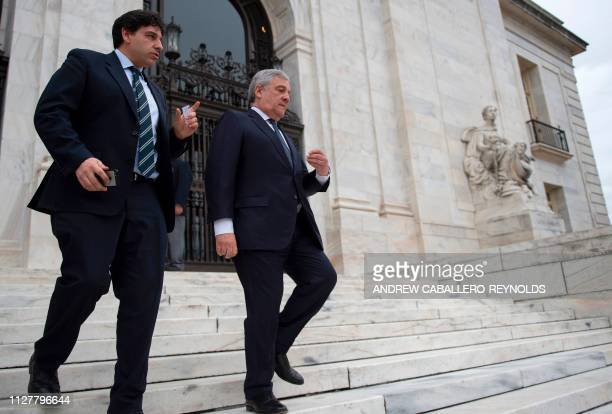 European Parliament President Antonio Tajani leaves after a press conference with Organization of American States Secretary General Luis Almagro at...