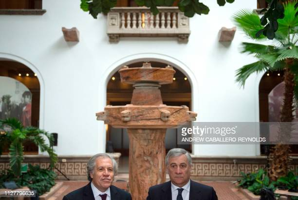 European Parliament President Antonio Tajani listens during a press conference with Organization of American States Secretary General Luis Almagro at...