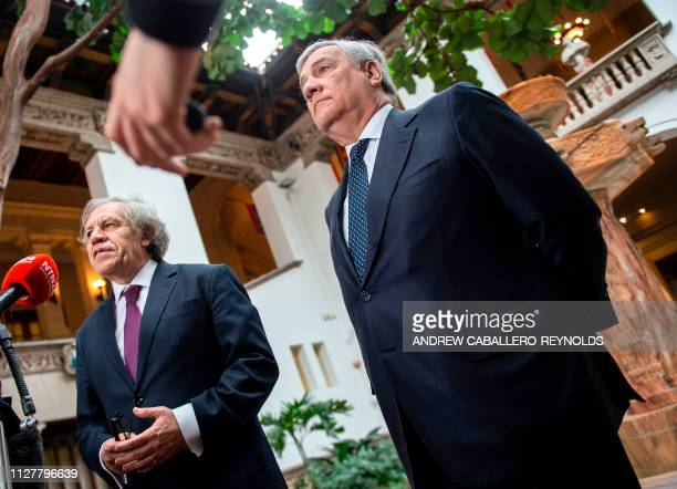European Parliament President Antonio Tajani looks on during a press conference with Organization of American States Secretary General Luis Almagro...