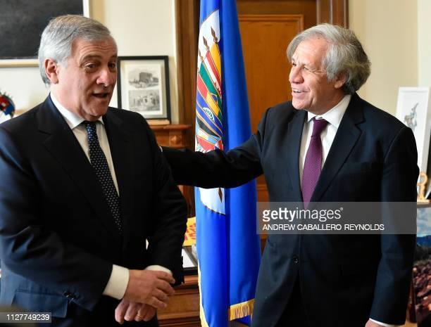 European Parliament President Antonio Tajani meets with Organization of American States Secretary General Luis Almagro during a meeting at the OAS...
