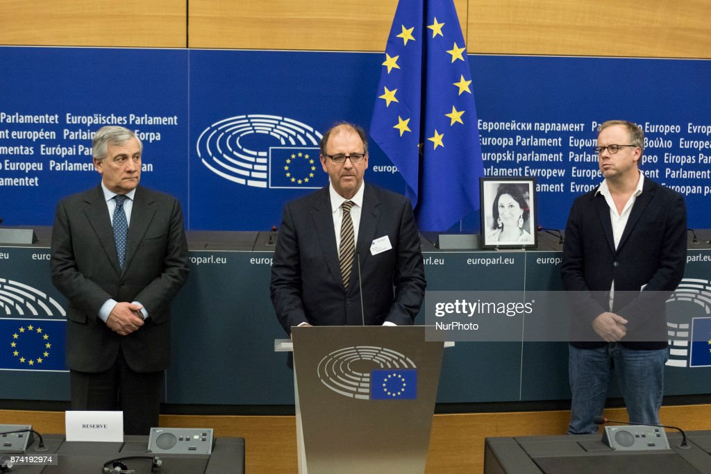 European Parliament President Antonio Tajani (L) , Peter Caruana Galizia (C), the dead journalist's husband, and Secretary General of Reporters without Borders Christophe Deloire (R) during Naming ceremony of press conference room in honour of Daphné CARUANA GALIZIA on 14 november 2017, in Strasbourg, France. Daphné CARUANA GALIZIA was a Maltese journalist, writer, and anti-corruption activist. At around 3 pm on 16 October 2017, Daphne Caruana Galizia died in a car bomb attack on her rented Peugeot 108, while she was driving close to her home in Malta.
