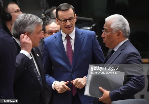 European Parliament President Antonio Tajani Poland's Prime Minister Mateusz Morawiecki and Portugal's Prime Minister Antonio Costa talk to each...