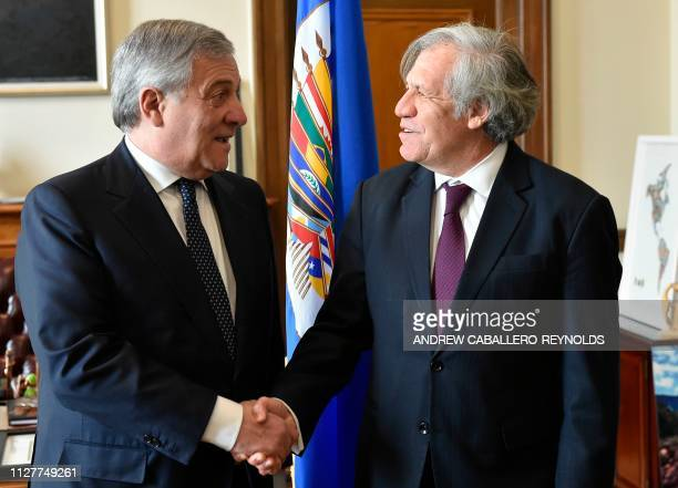 European Parliament President Antonio Tajani shakes hands with Organization of American States Secretary General Luis Almagro during a meeting at the...