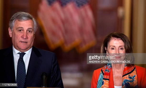 European Parliament President Antonio Tajani speaks as US House Speaker Nancy Pelosi looks on during a press conference at the US Capitol in...
