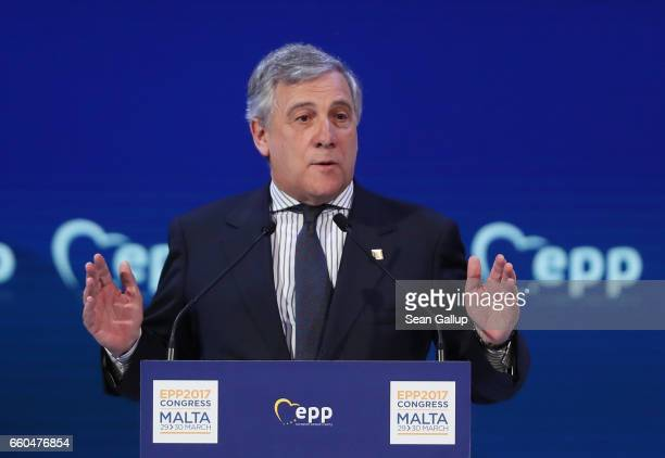 European Parliament President Antonio Tajani speaks at the European People's Party Congress on March 30 2017 in San Giljan Malta The EPP which...