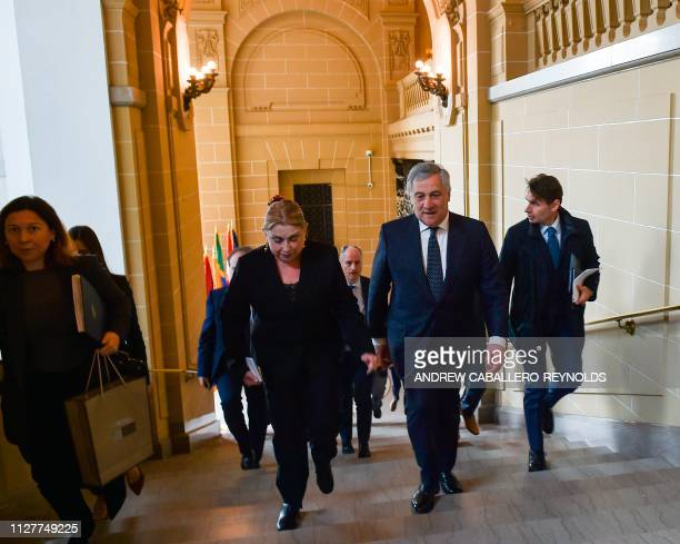 European Parliament President Antonio Tajani speaks with a member of protocol as he arrives for a meeting with Organization of American States...