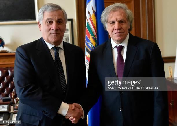 European Parliament President Antonio Tajani speaks with Organization of American States Secretary General Luis Almagro during a meeting at the OAS...