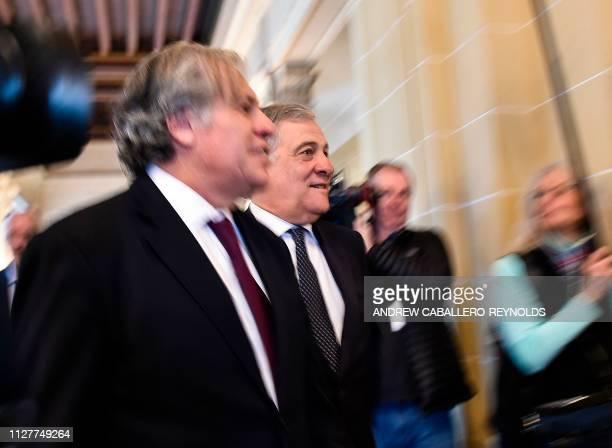 European Parliament President Antonio Tajani walks with Organization of American States Secretary General Luis Almagro during a meeting at the OAS...