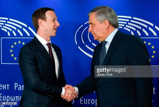 European Parliament President Antonio Tajani welcomes Facebook CEO Mark Zuckerberg at the European Parliament prior to his audition on the data...