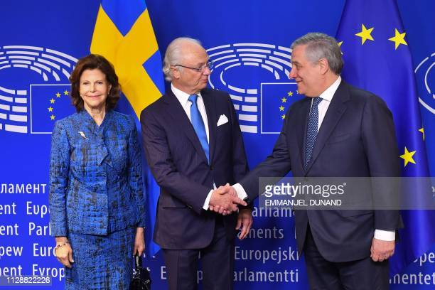 European Parliament President Antonio Tajani welcomes Swedish Queen Silvia and King Carl XVI Gustaf at the European Parliament in Brussels on March 6...