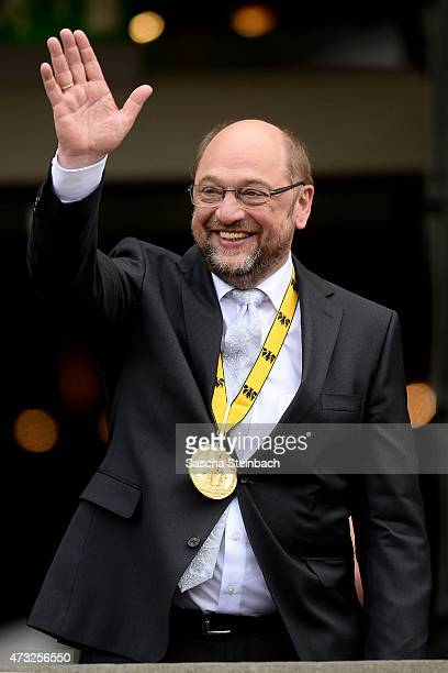 European Parliament President Martin Schulz gestures during the International Charlemange Prize Of Aachen 2015 on May 14, 2015 in Aachen, Germany....