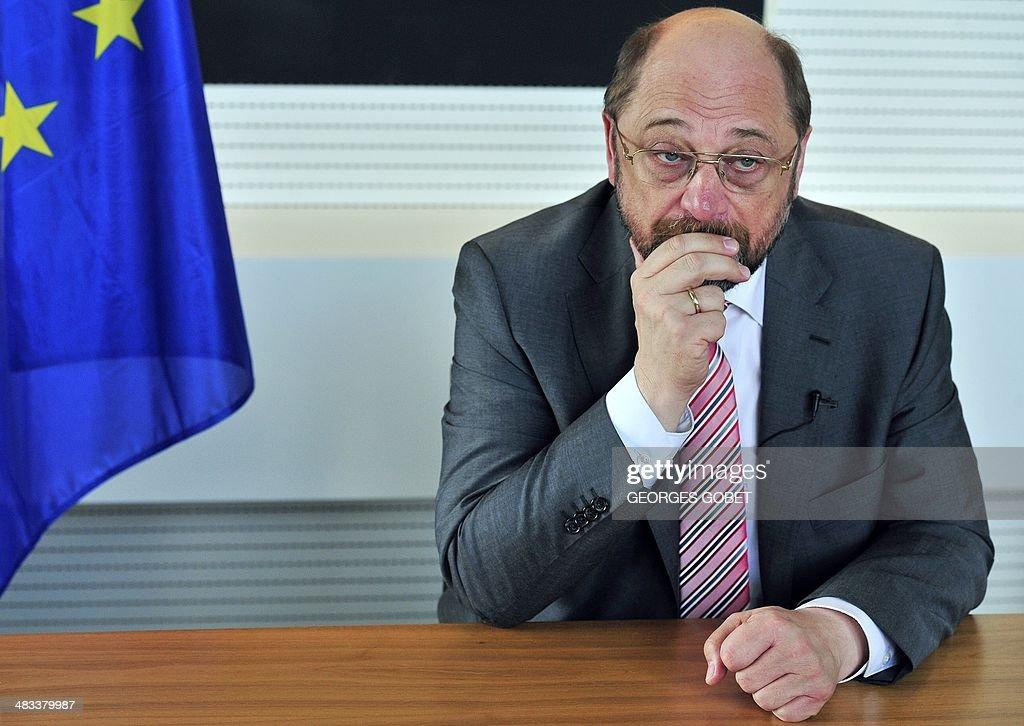 BELGIUM-EU-DIPLOMACY-PARLIAMENT-SCHULZ : News Photo