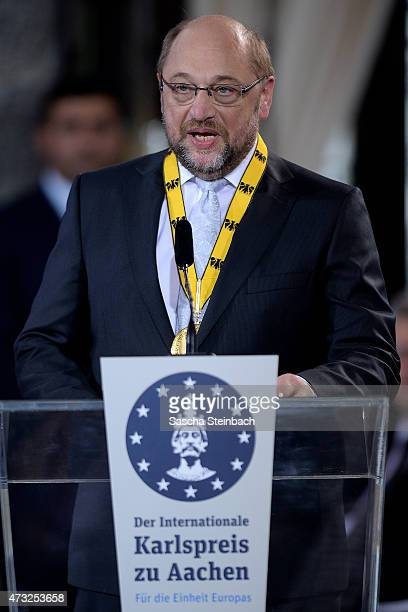 European Parliament President Martin Schulz speaks during the International Charlemange Prize Of Aachen 2015 on May 14, 2015 in Aachen, Germany. The...