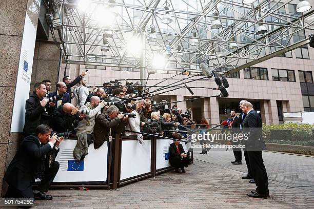 European Parliament President Martin Schulz speaks to the media at The European Council Meeting In Brussels held at the Justus Lipsius Building on...