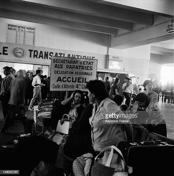 European passengers from Algeria arrive in Marseille France aboard the ship Ville de Tunis France on July 20 1962