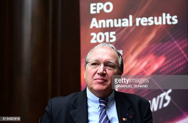 European Patent Office President Benoit Battistelli speaks during a press conference to announce the EPO's 2015 annual results in Brussels on March 3...