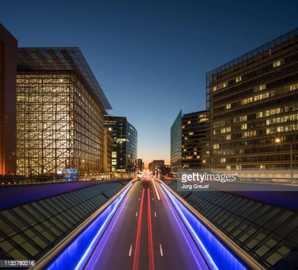 european quarter, brussels (dusk) - capital region stock pictures, royalty-free photos & images