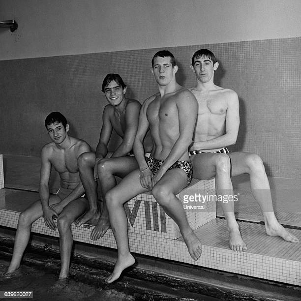 European record of the 4x200meter for the French team Bernard Gruener Alain Mosconi Francis Luyce and Michel Rousseau