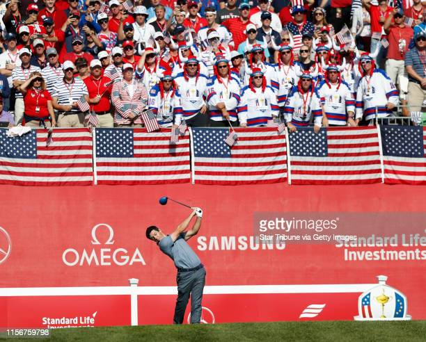 European Rory McIlroy tees off on the 1st hole in a match against USA golfer Patrick Reed Sunday morning ] JERRY HOLT jerry Holt@Startribunecom The...
