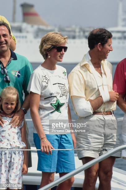 European royal families join together for a yachting holiday on the 'Fortuna' in Majorca Spain August 1990 From left to right former King Constantine...