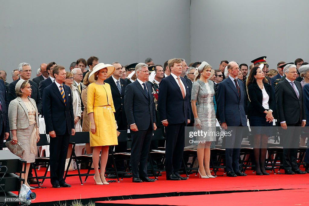 European royals including Grand Duchess Maria Teresa of Luxembourg, Grand Duke Henri of Luxembourg, Queen Mathilde of Belgium (yellow dress), King Philippe of Belgium, Dutch King Willem-Alexander, Queen Maxima of the Netherlands and Prince Edward, Duke of Kent attend the Belgian federal government ceremony to commemorate the bicentenary of the Battle of Waterloo on June 18, 2015 in Waterloo, Belgium. The ceremony is at the start of three days of official events marking the 200th anniversary of the Battle of Waterloo during which around 5000 historical re-enactors from around the world will take part in events culminating in a re-enactment of the allied defeat of Napoleon's army on June 20th. The 1815 battle saw the overthrow of Napoleon Bonaparte and the restoration of Louis XVIII to the French throne.