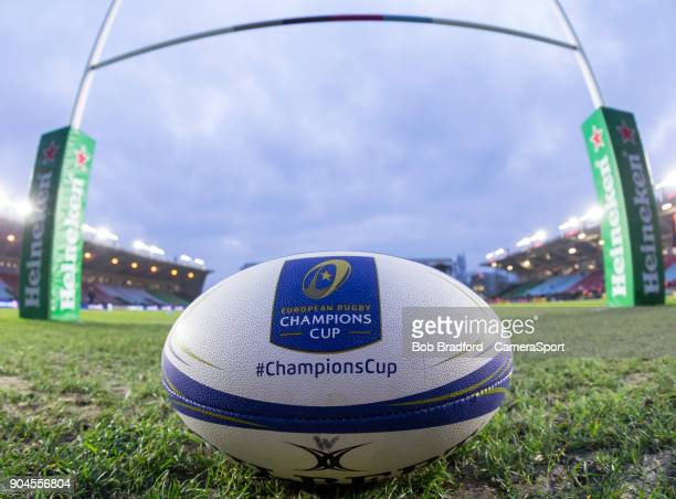 European Rugby Ball during the European Rugby Champions Cup match between Harlequins and Wasps at Twickenham Stoop on January 13, 2018 in London,...