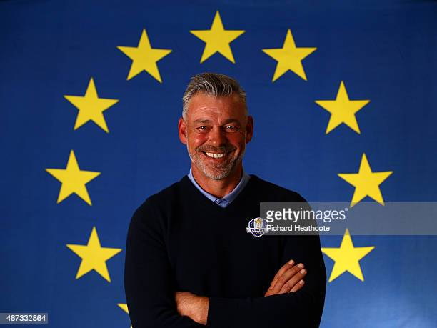 European Ryder Cup Captain Darren Clarke of Northern Ireland poses during a Ryder Cup Photocall at the Sofitel hotel on March 23 2015 in London...